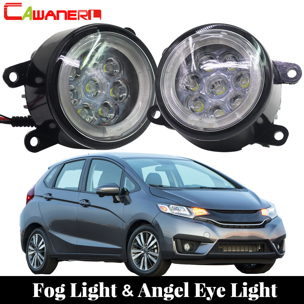 Cawanerl For Honda Fit 2015 Onwards Car LED Lamp External Fog Light Angel Eye DRL Daytime Running Light 12V Styling car styling daytime running light 2013 for honda crz led fog light auto angel eye fog lamp led drl high