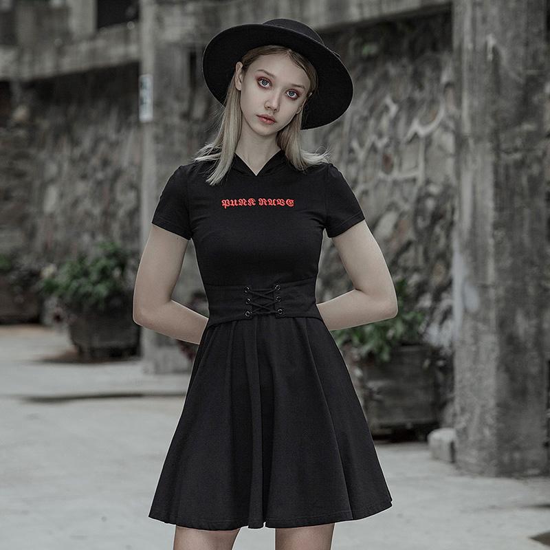 Punk Rave femmes Goth Slim ajusté petite robe avec capuche PQ566LQ asie taille (S-L)