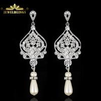 Chandelier Style Floral Cascading Clear Crystal Drop Bridal Earrings Silver Encrusted Pave Pear Cut Teardrop Wedding