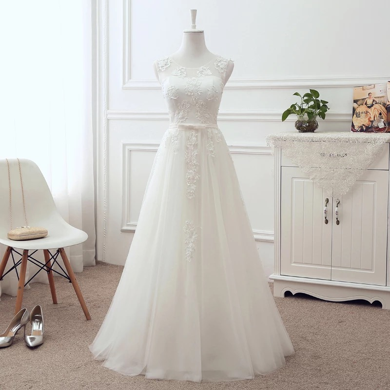 Floor Length A line Tulle Lace Appliques Elegant Wedding Dresses Bridal Gown SV03