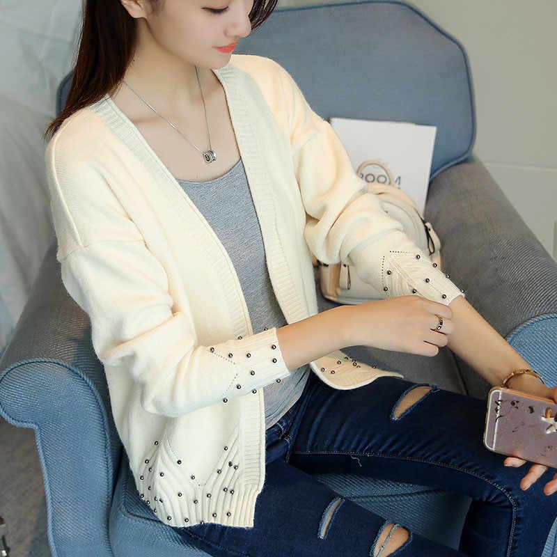 Neploe outono mulheres cardigan 2020 novo coreano solto suéter feminino grânulo cardigan casaco curto com decote em v selvagem jaqueta de malha 65927