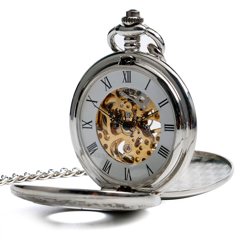 New Arrival Luxury Silver Skeleton Mechanical Hand Wind Pocket Watch Unique Steampunk Hunter Clock Accessory Christmas Gift