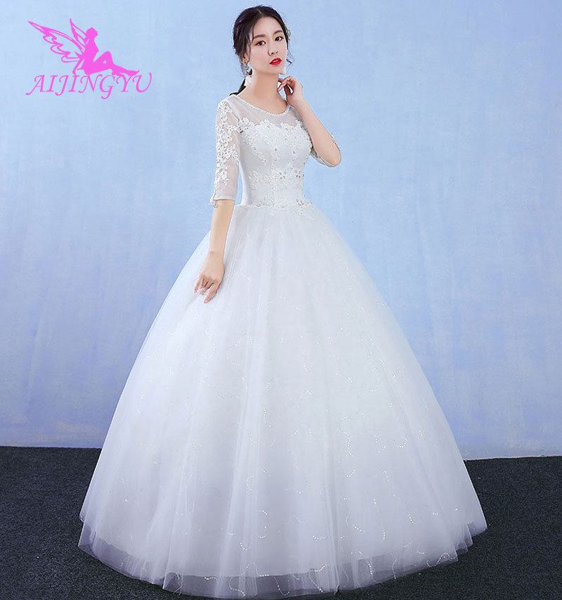 AIJINGYU 2018 Bridal Free Shipping New Hot Selling Cheap Ball Gown Lace Up Back Formal Bride Dresses Wedding Dress WK825