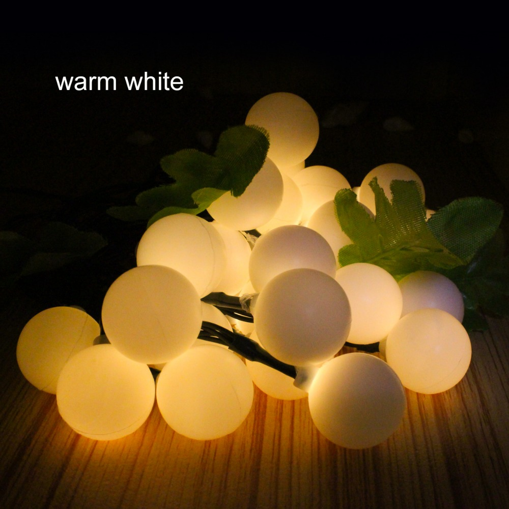 16FT 30 Led Ball Solar fairy light garden garland christmas decor Led string light 5m solar powered outdoor lamp RGB white solar powered 6w 100 led rgb light water resistant flexible tube light white black