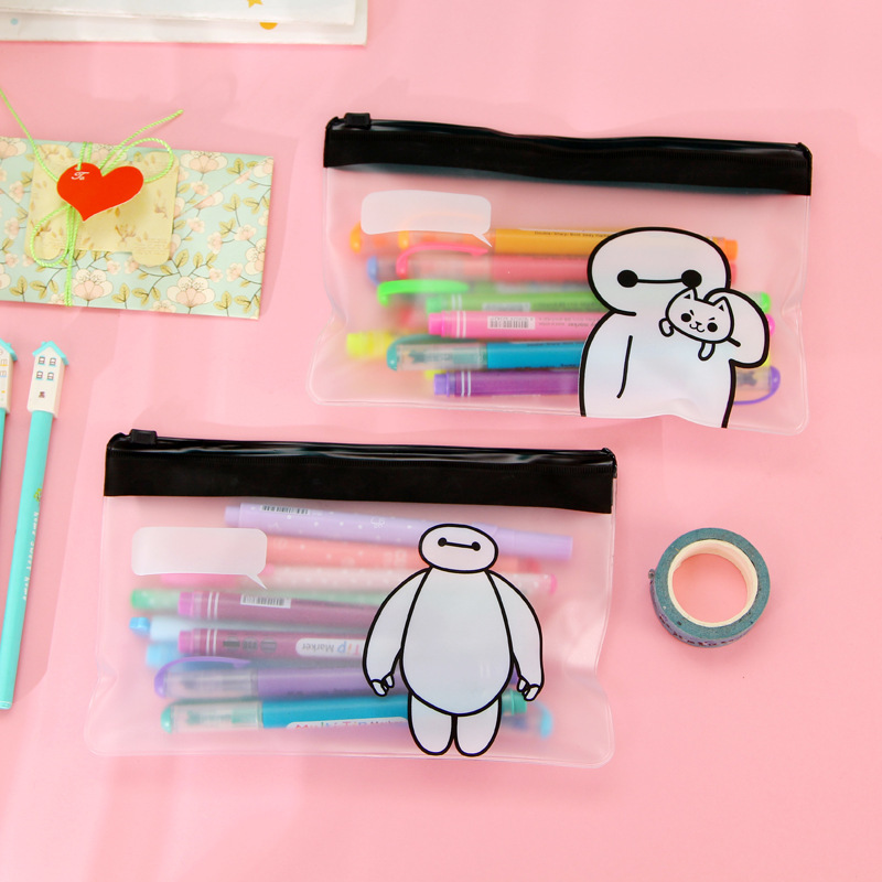 H46 1X <font><b>Kawaii</b></font> Stationery Cute Clear <font><b>Big</b></font> Hero Baymax Pen Bag <font><b>Case</b></font> Holder Storage Pencilcase <font><b>School</b></font> Supplies Cosmetic Makeup Bag image