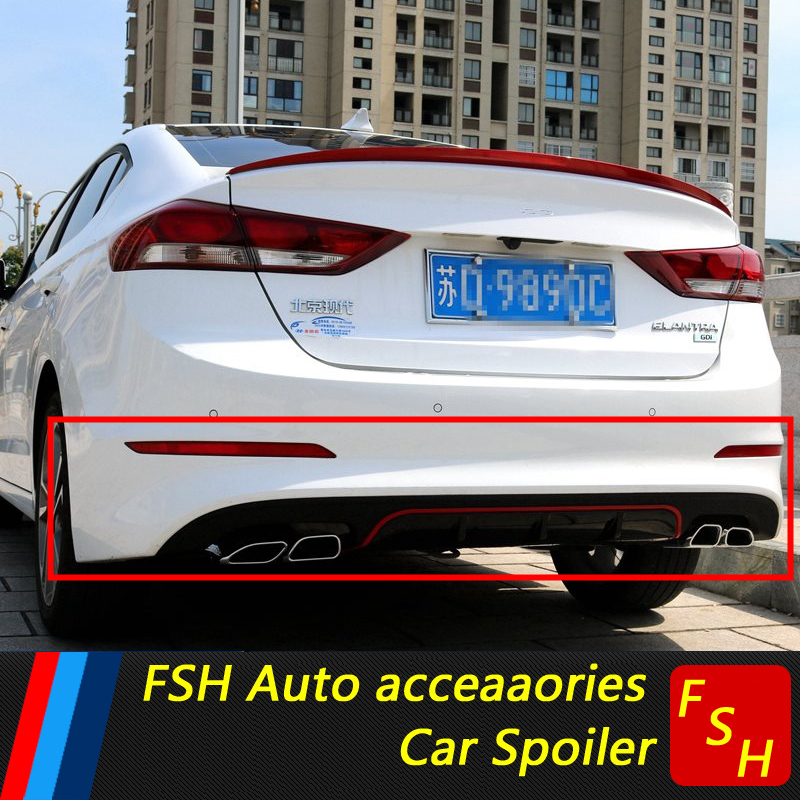 For Hyundai Elantra Rear spoiler PP Rear Bumper Diffuser Bumpers Protector For Hyundai Elantra Body kit bumper rear lip 2016-19