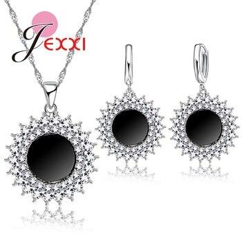 173d4a57e49a Jemmin moda gótica piedra brillante Negro Sol mujer joyería conjunto étnico  Retro collar pendiente redondo pendientes Cadena de plata