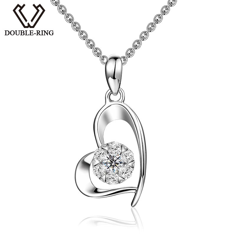 DOUBLE-R Love Heart Pendants Fine Jewelry for Women 18K White Gold 0.138ct Diamond Pendants With Silver Necklaces CAP03406KADOUBLE-R Love Heart Pendants Fine Jewelry for Women 18K White Gold 0.138ct Diamond Pendants With Silver Necklaces CAP03406KA