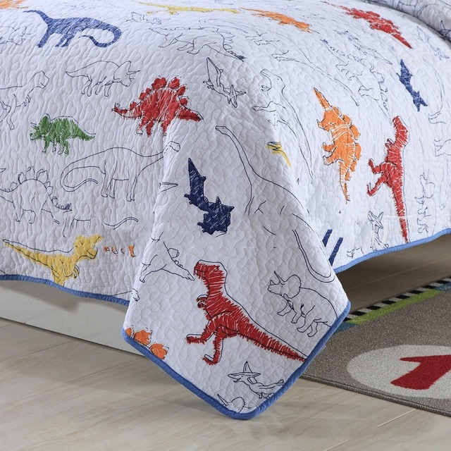 Dinosaurs Cotton Bedding Set – Quilt and Pillow cover