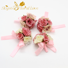 Popular silk flower boutonniere buy cheap silk flower boutonniere diy artificial flower heads corsagebrooch decoration wedding silk flower boutonniere wedding decor groom bride mightylinksfo Choice Image