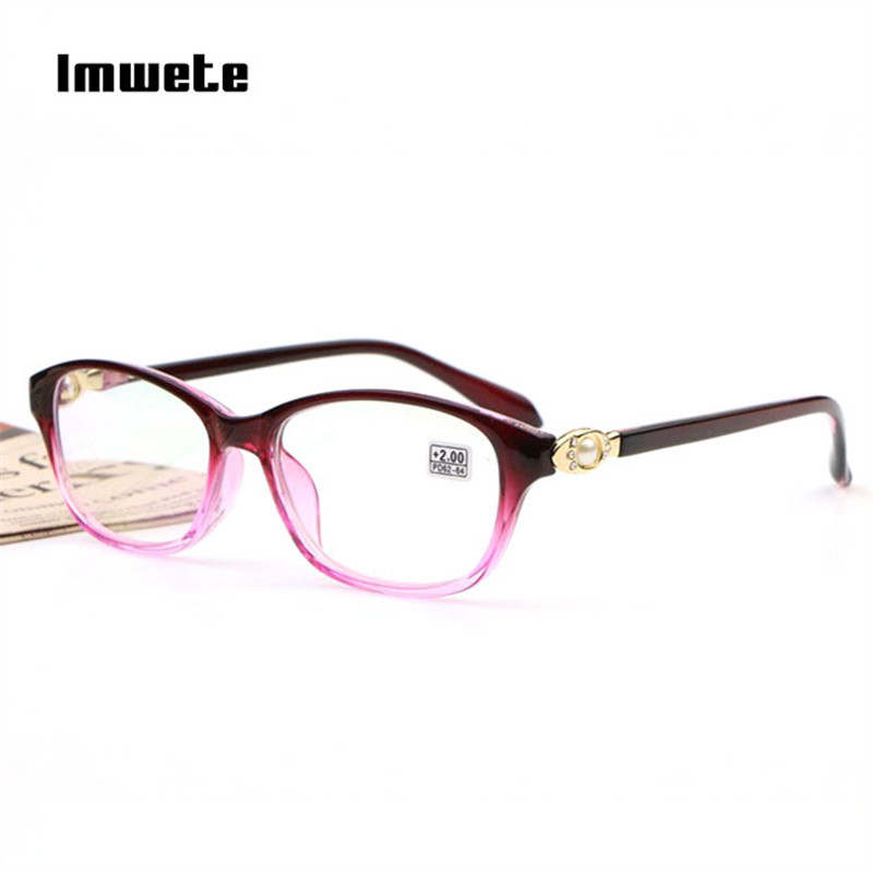Imwete Pearl Reading Glasses Women Presbyopic Glasses Ladies Diamond Glasses HD Prescription Transparent Eyeglasses