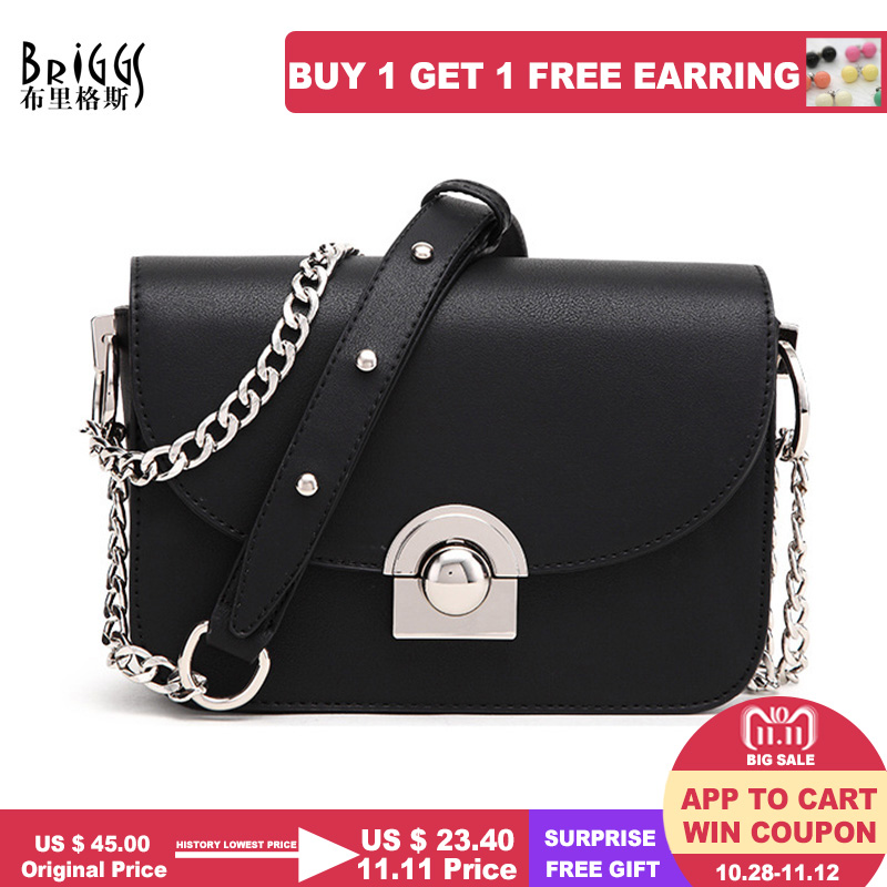 BRIGGS Women Handbags Famous Brand Women Messenger Bag Chains PU Leather Women Shoulder Bag Fashion Small Flap Bags bolsos mujer цены