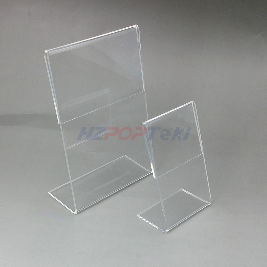54x85mm T1.3mm Vertical Clear Acrylic Plastic Table Sign Price Tag Label Display Paper Promotion Card Holders L Stands 1000pcs clear acrylic a3a4a5a6 sign display paper card label advertising holders horizontal t stands by magnet sucked on desktop 2pcs