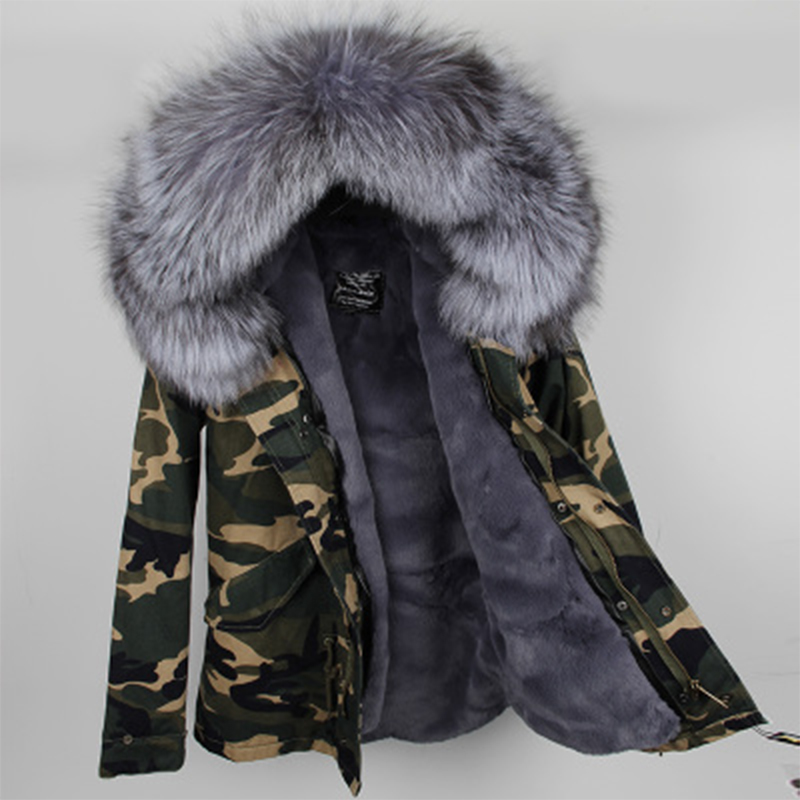 2018 New Parkas Large real raccoon fur hooded coat parkas outwear 2 in 1 detachable lining winter jacket brand style