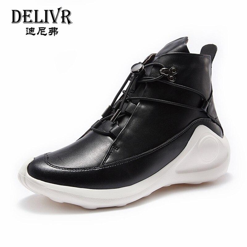 Delivr/черные мужские кроссовки унисекс; Вулканизированная обувь на толстой подошве; Masculino Adulto; Мужская обувь из натуральной кожи; формальная Мода 2019 года