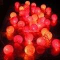 2.5 М 20 Красный Оранжевый Желтый Хлопок Шар Света Шнура СИД Сказочных Огней Luces De Navidad Свадьбы Рождество Дома украшения