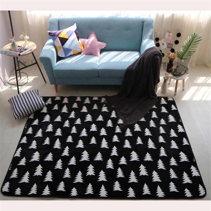 Новый декор в скандинавском стиле, фланелевый бархатный геометрический большой коврик для гостиной, для ползания и игр, коврики для чайной скатерти, коврики