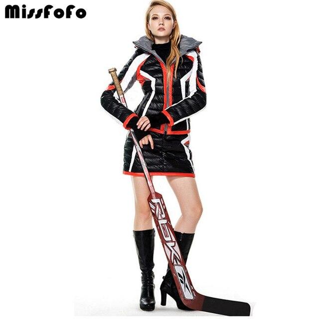 MissFoFo женский пуховик s CLJ Базовые Куртки модная повседневная мотоциклетная зимняя верхняя одежда короткая юбка пуховик женский комплект 2 в 1