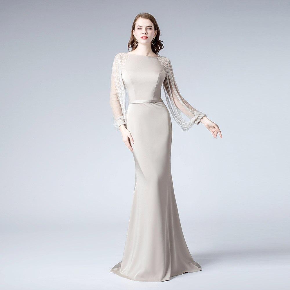 Vintage Khaki Long Sleeve Rhinestones   Evening     Dress   2019   Evening   Gowns Formal Women Mermaid   Dresses   YQLNNE