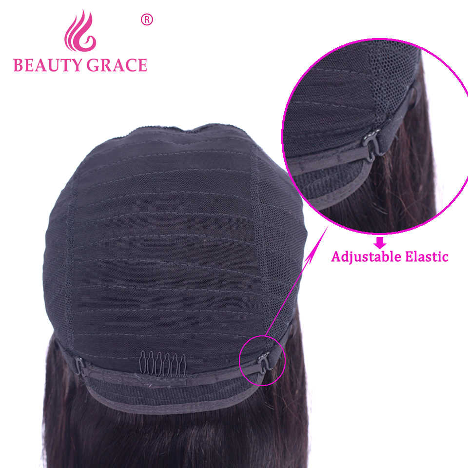 Красота Grace малазийские прямые парики из человеческих волос на кружеве al парик предварительно сорвал короткие не парики Реми для черных женщин