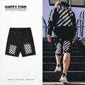 16ss PROVERGOD Branco Hip Hop Dos Homens Soltos Curto Moda Tarja Calças Basculador Casuais Homem Sweatpants Streetwear Algodão Shorts