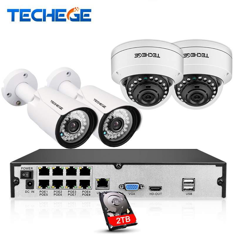 Techege 8CH full 1080P POE NVR kit 2.0MP 3000tvl NIght Vision dome camera IP POE Camera P2P Cloud Surveillance kit cctv system techege h 265 security surveillance kits 8ch 4k 48v poe nvr 4mp 2 8 12mm zoom lens ip camera poe system p2p cloud cctv system