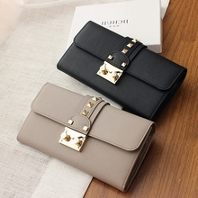 Women Rivet Wallets Leather Clutches Bag Card Holder Purses Long Style Female Wallet Phone Pouch Girls Money Bag Carteras Mujer