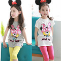 2017 New Spring Summer Girls Clothes Set Kids Clothes Cotton Short Sleeve Cartoon T-shirt & Solid Color Knee Length Pants