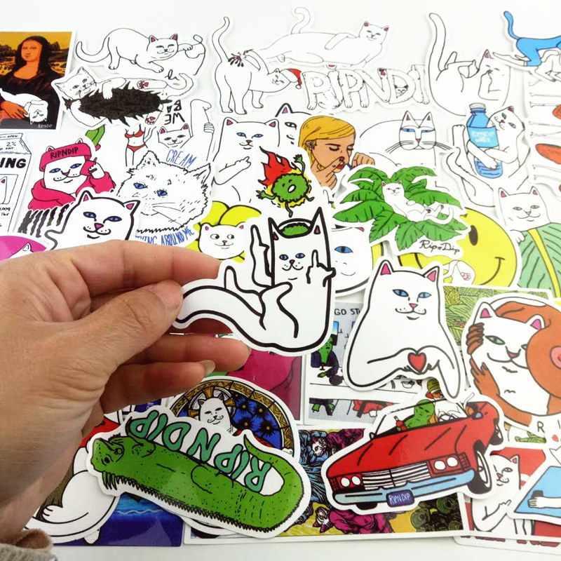 50pcs 1lot funny ripndipp sticker creative personality waterproof rip n dip laptop sticker for finger skateboard car styling dec in stickers from toys