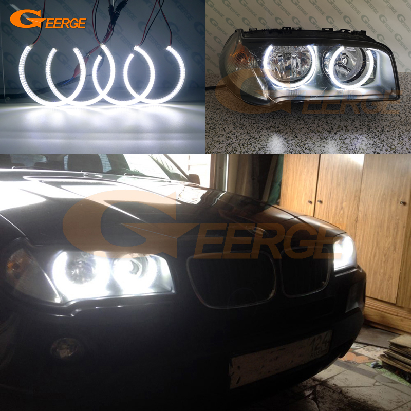 For BMW E83 X3 2007-2010 Halogen headlight Excellent angel eyes Ultra bright illumination smd led Angel Eyes Halo Ring kit DRLFor BMW E83 X3 2007-2010 Halogen headlight Excellent angel eyes Ultra bright illumination smd led Angel Eyes Halo Ring kit DRL