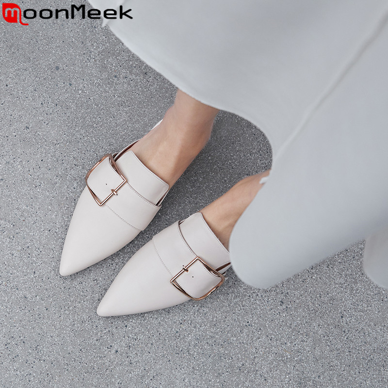 MoonMeek 2019 hot sale new mules shoes pointed toe shallow flats women genuine leather shoes casual
