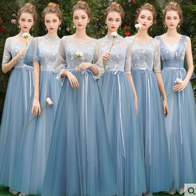 Dusty Blue Bridesmaid Dresses New Lace 6 Style Wedding Guest Dress Long Robe Demoiselle D'honneur Pour Femme Sukienki Na Impreze