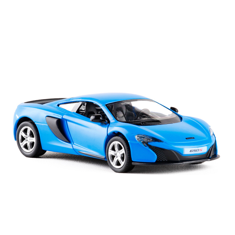 High Simulation RMZ city 1/36 Matte blue Ver. UK Mclaren 650S Diecast Metal Car Alloy Toy With Pull Back For Gift Kid Collection