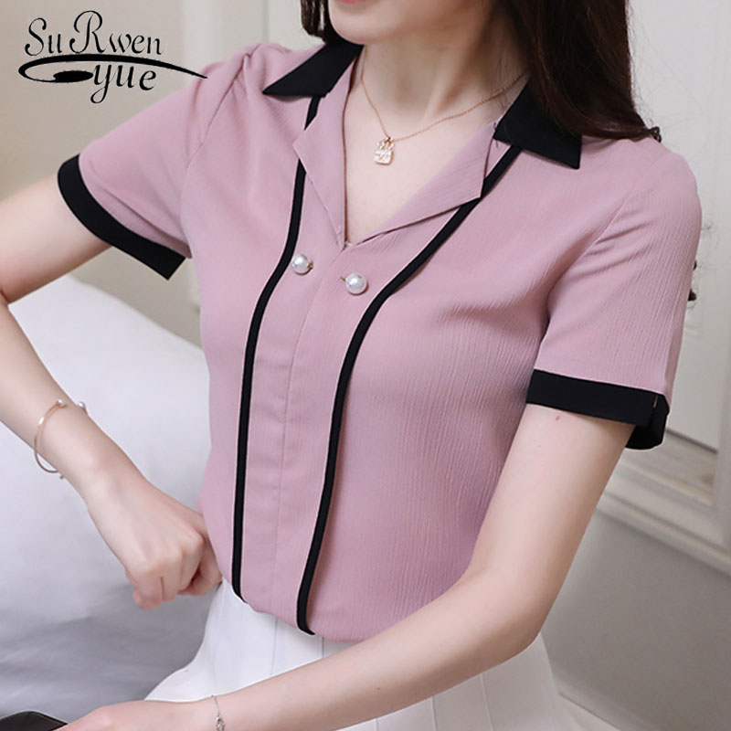 384c28e804cec new 2019 summer short sleeve chiffon women's tops fashion office lady shirt  women blouse v-neck women's clothing blusas D665 30 - KHAETHRIYA