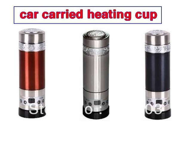 free shipping  high-stage vaccum stainless steel car carried electrical heating cup.100 degree celsius boiling water 12V/24V