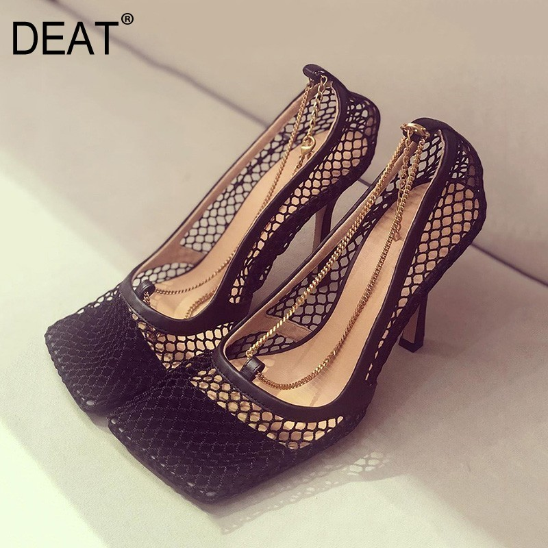 DEAT 2019 New Spring Summer Square Toe Shallow Mesh Hollow Out Chains Thin High Heels