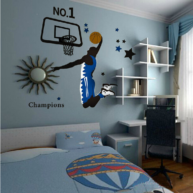 New [Saturday Mall] Sports Basketball Slam Dunk Wall Stickers Boys Room  Bedroom Home Decor Decals Pvc Wallpaper Free Shipping In Wall Stickers From  Home ... Part 33