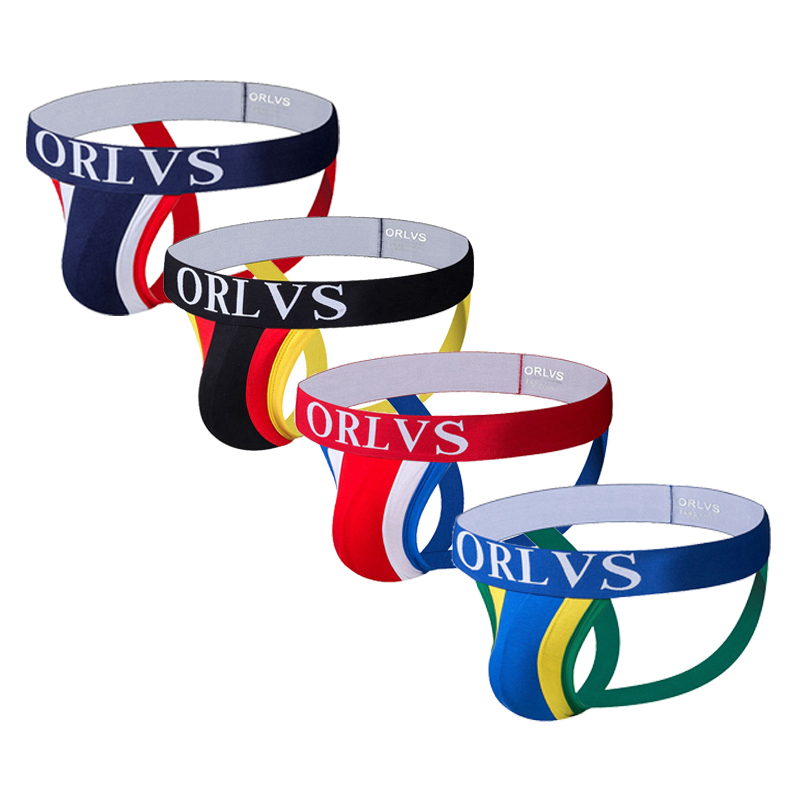 ORLVS Mens Panties Sexy Male Underwear Men Jockstrap Briefs Gay Slip Homme Cotton Underpants Thongs Strings Tanga Penis Pouch