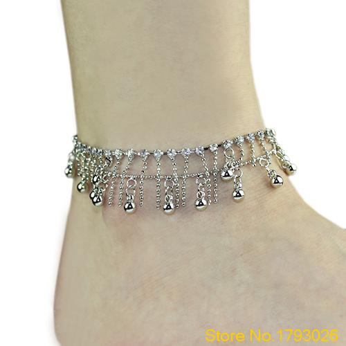 Women s Ankle Bracelet bangles Silver Tone 2 layers Tassel Crystal Jewelry Chain Anklet 4TCS