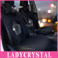 Ladycrystal Bling Bling Crown Crystal Rhinestone Auto Car Styling Seat Covers General Soft Breathable Fiber Car Seat Cover