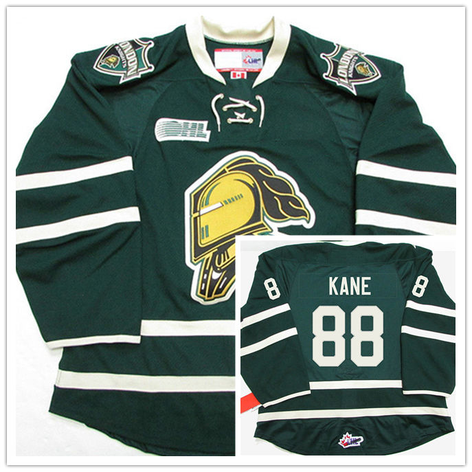661fc66ac619e8 London Knights #88 Patrick Kane Green Hockey Jersey Embroidery Stitched  Customize any number and name Jerseys