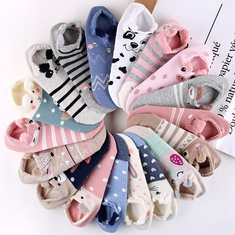 Cute Animal   Socks   For Women Warm Cotton Ankle Breathable 3D Cotton Woman   Socks   Funny Animal Lovely Cheap Ankle Female   Sock