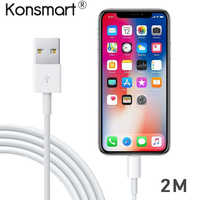 Konsmart 2M Original USB Cable Cord for iPhone Xs max X 8 7 Plus Xr iPad Pro Air iPod Fast Charging Data ipad Cable Charger