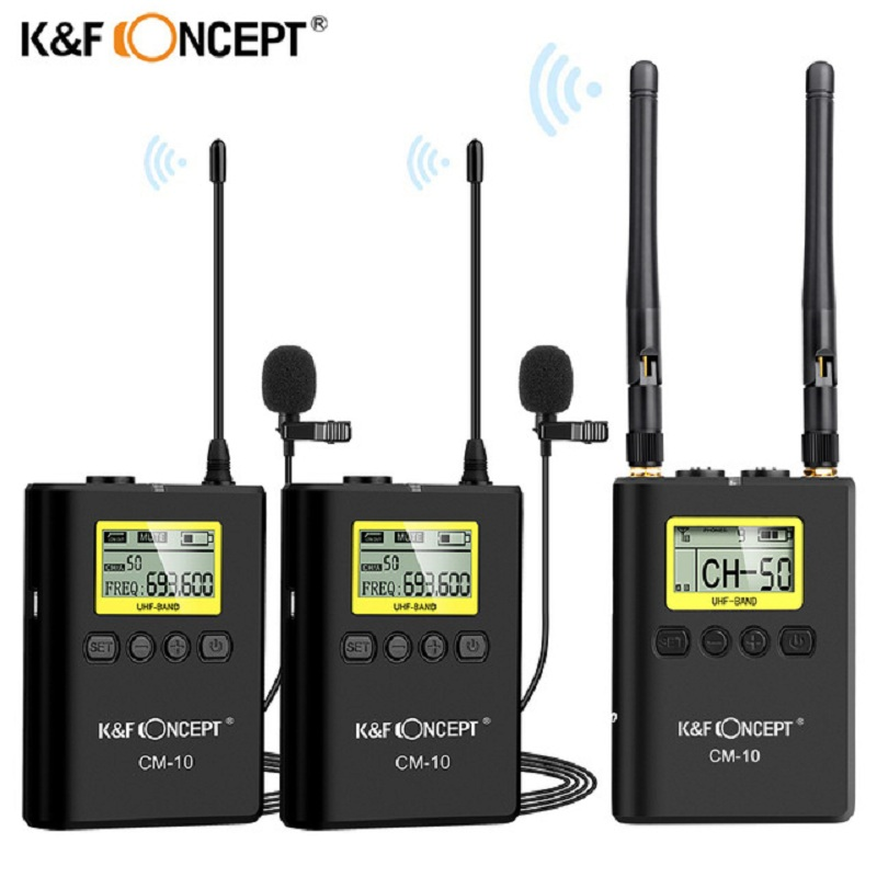 K&F Concept CM-10 UHF 100M Professional Wireless Microphone System Receiver +2 Transmitter for DSLR Camera Camcorder Video Mic image