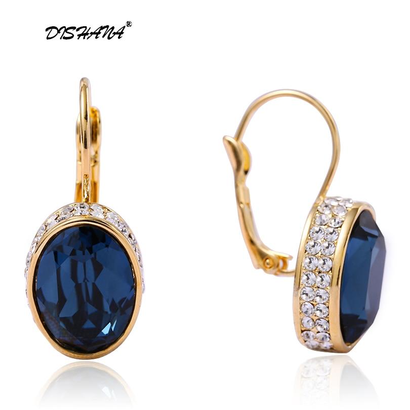 Brincos de gota de cristal para mulher de luxo pendientes mujer moda ouro-cor da moda jóias geométrica afirmação bijoux femme e0177