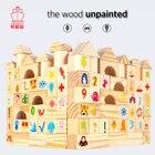 110 Pcs Raw Wood Blocks Unpainted Animals Printed Kindergarten Educational Toys for Kids Early Children Intelligence Development