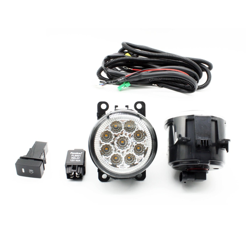 H11 Wiring Harness Sockets Wire Connector Switch + 2 Fog Lights DRL Front Bumper LED Lamp Yellow For LAND ROVER FREELANDER 2 LR2 for jaguar s type x type h11 wiring harness sockets wire connector switch 2 fog lights drl front bumper 5d lens led lamp