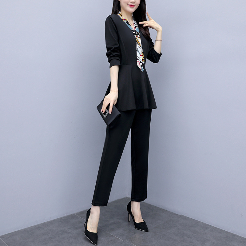 L-5xl Black Autumn Two Piece Sets Outfits Women Plus Size Long Sleeve Tunics Tops And Pants Suits Elegant Office Ol Style Sets 28