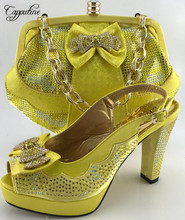 Capputine Yellow Color Hot Seling Woman Shoes And Bag Set African HIgh Heels Shoes And Bag