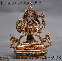 Christmas old Tibet crystal Gilt inlay gem 4 Arms Chenrezig Tara kwan yin Buddha statue Halloween